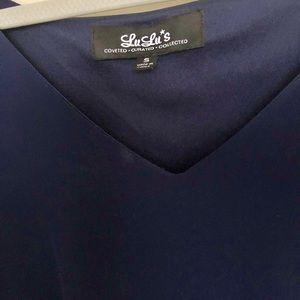 Lulu's Dresses - Lulus Navy Midi Sleeve Loose Short Chiffon Dress